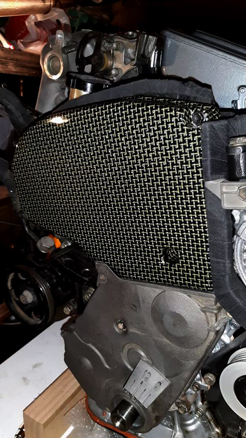 Carbon-kevlar timing belt cover