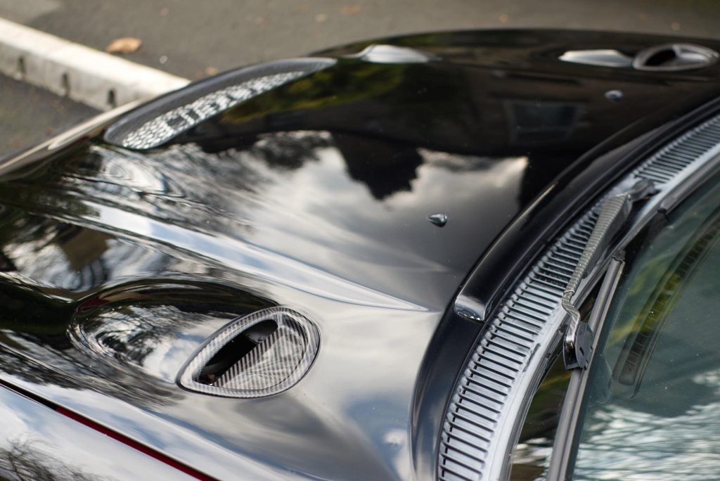 Carbon fiber inserts in hood