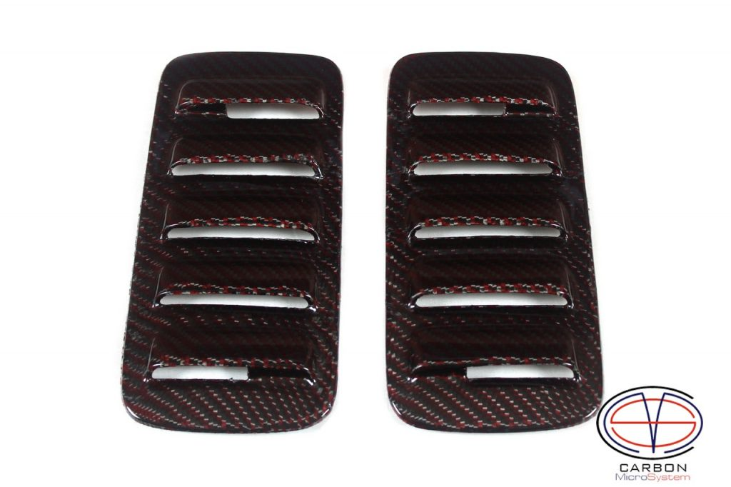 Red carbon fiber inserts and hood scoop for Celica st185